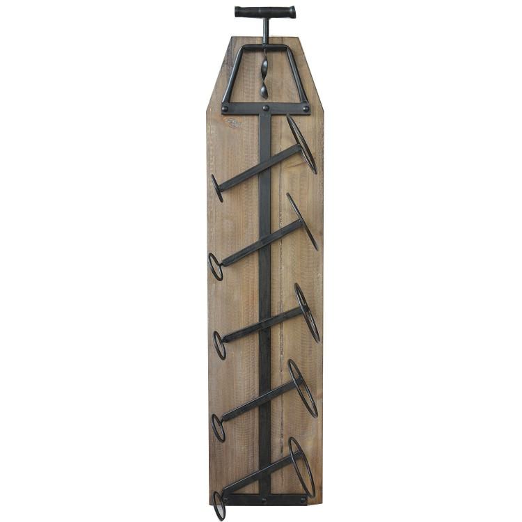 Botellero de madera natural con capacidad para 5 botellas. Diseño Nórdico y estiloso. - Hogar y más.