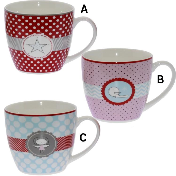 Hogar y Más - Taza de porcelana natural con asa de diseño original y alegre Edición Smile