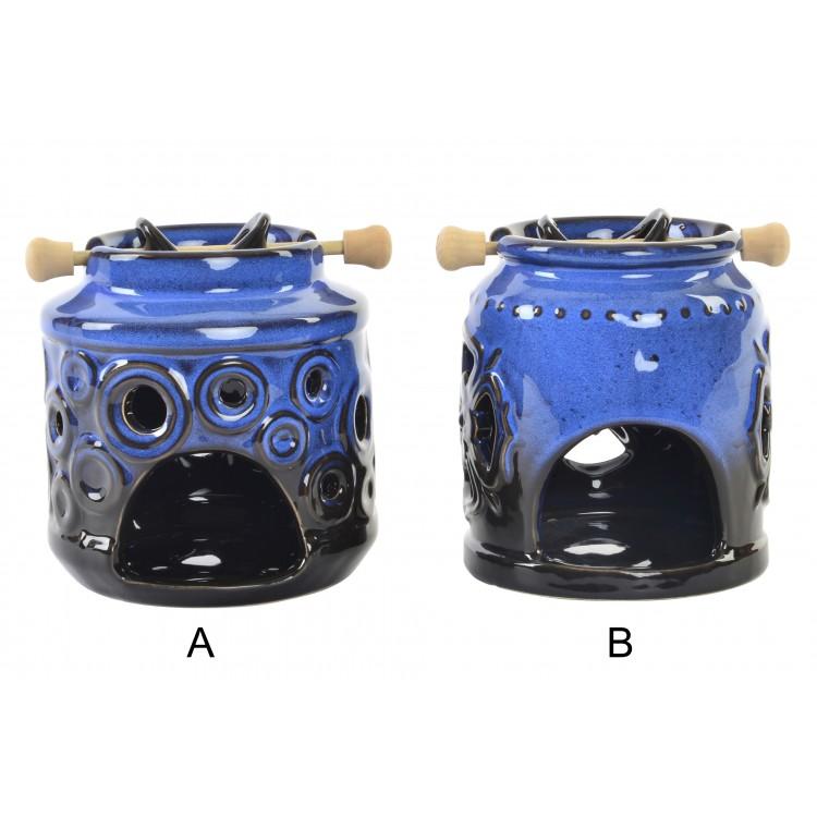 Hogar y más - Quemador de Aromas de Cerámica Azul