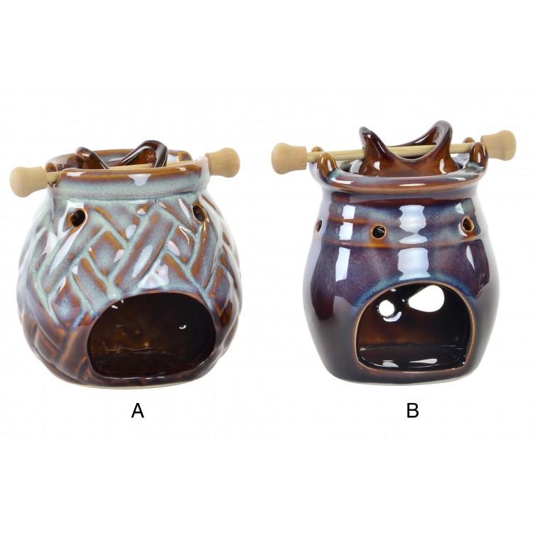 Hogar y más - Quemador de aromas de Porcelana y madera