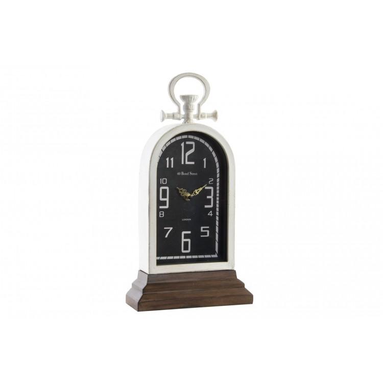 Hogar y más - Reloj de sobremesa Vintage de madera y metal