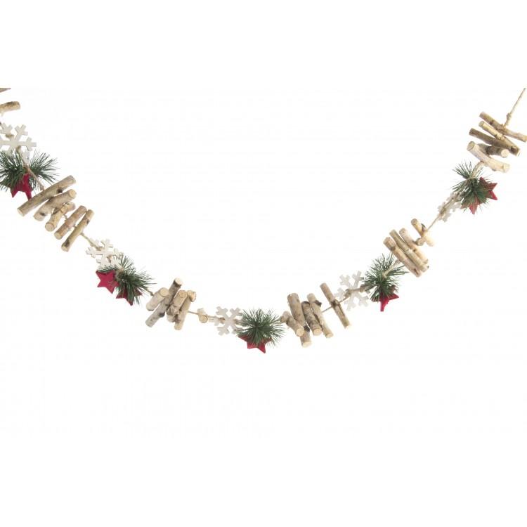 Hogar y Más - Guirnalda de Navidad con original diseño de estrellas y madera natural Happy Year