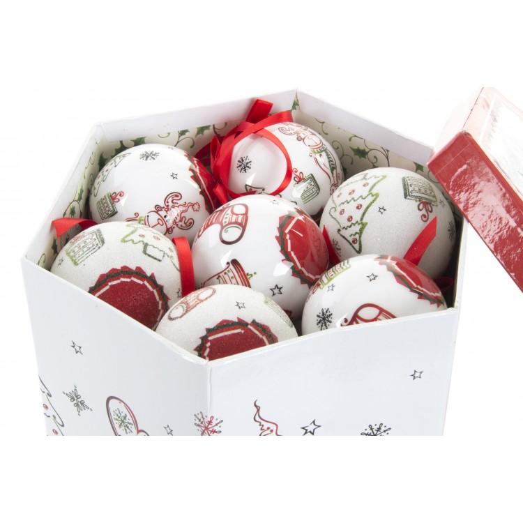 Hogar y Más - Bola de Navidad divertida juego de 14 con caja de regalo Happy Santa