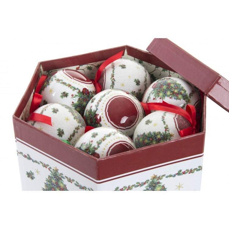 Hogar y Más - Bola de Navidad con lazo juego de 14 con original caja de regalo