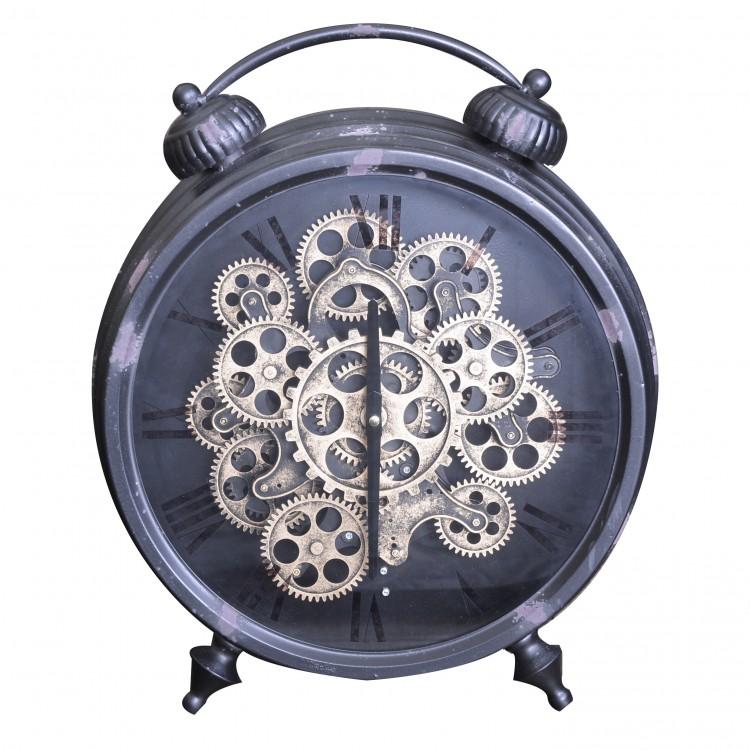 Hogar y Más - Reloj de pie de diseño industrial con triple apoyo de color negro y bronce Factory