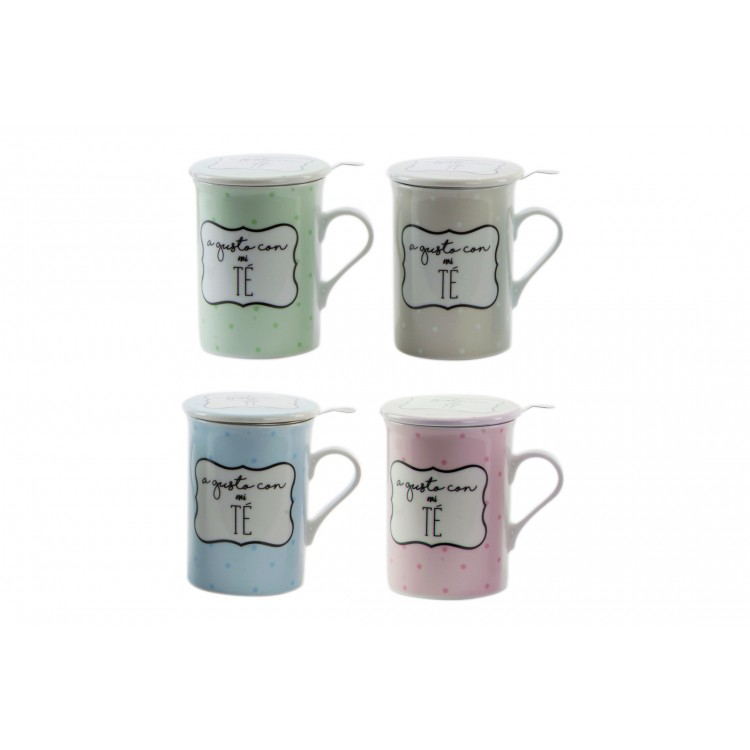 Hogar y más - Taza para preparar infusión con frase. 4 colores