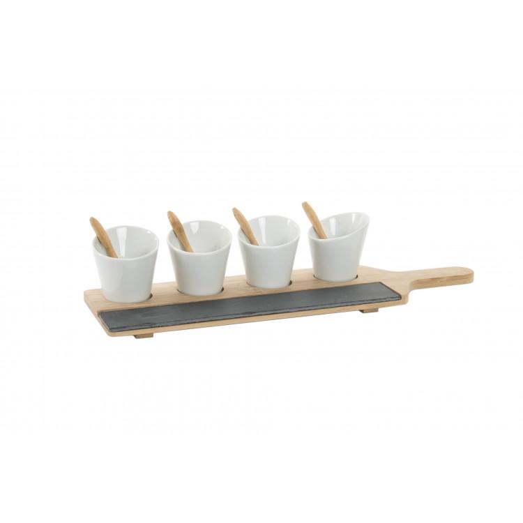Hogar y más - Set de 9 piezas para servir Aperitivos. Bambú y pizarra