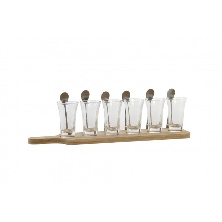 Set de 13 piezas de cristal para aperitivos.