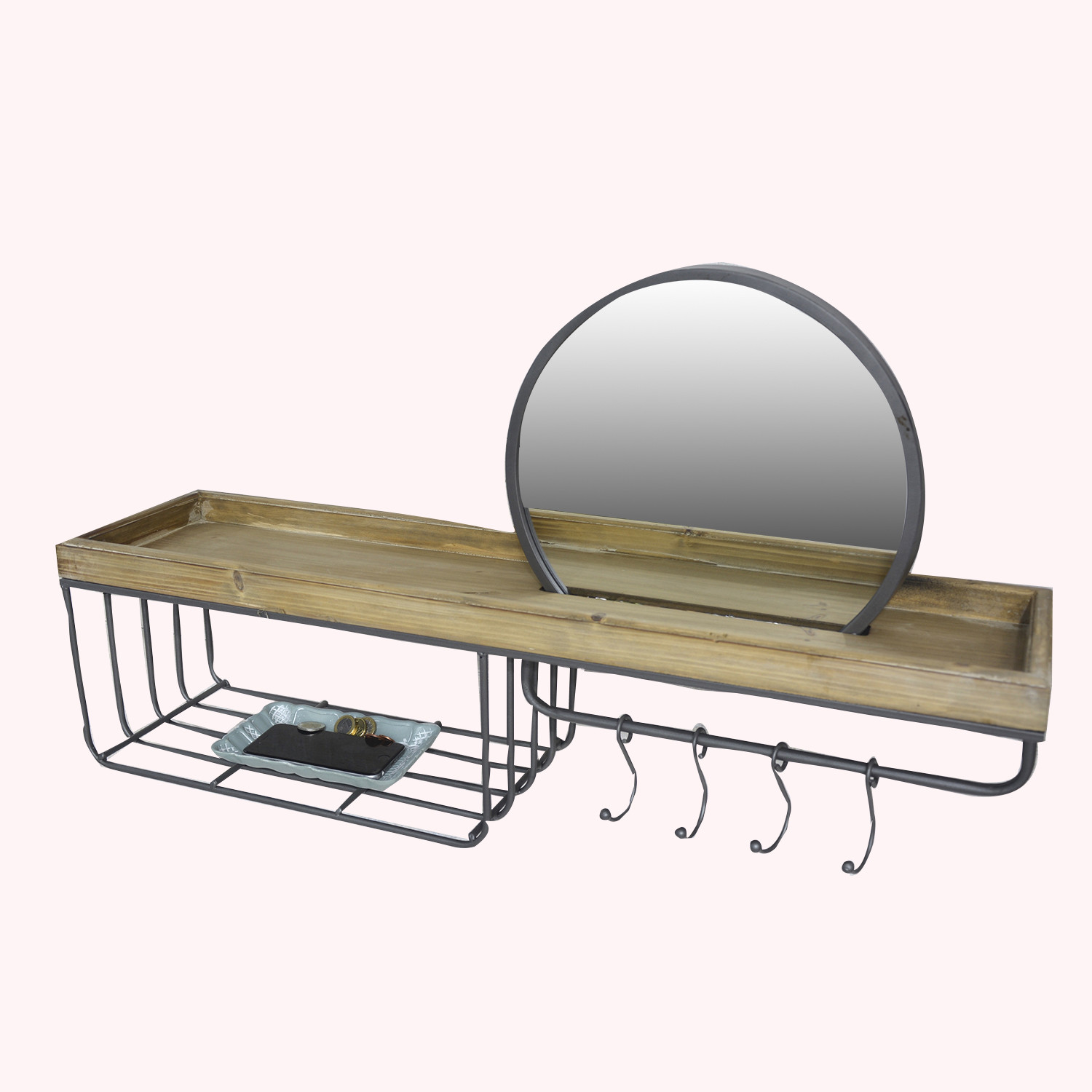 Coat rack mirror-natural wood-and-steel - Factory - Home, and more.