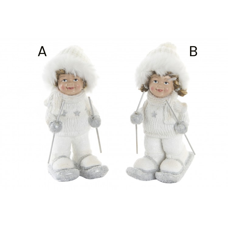 Hogar y Más - Figura alegre invernal de niño esquiando Edición White Winter