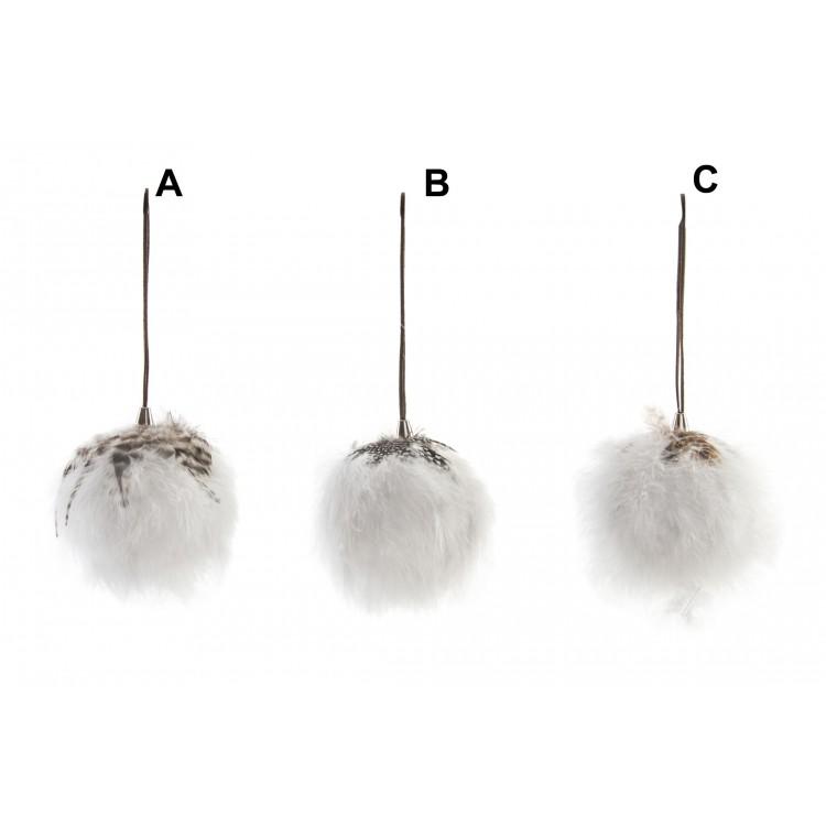 Hogar y Más - Bola decorativa original de tacto suave para colgar cubierta con pelo y plumas Cotton World