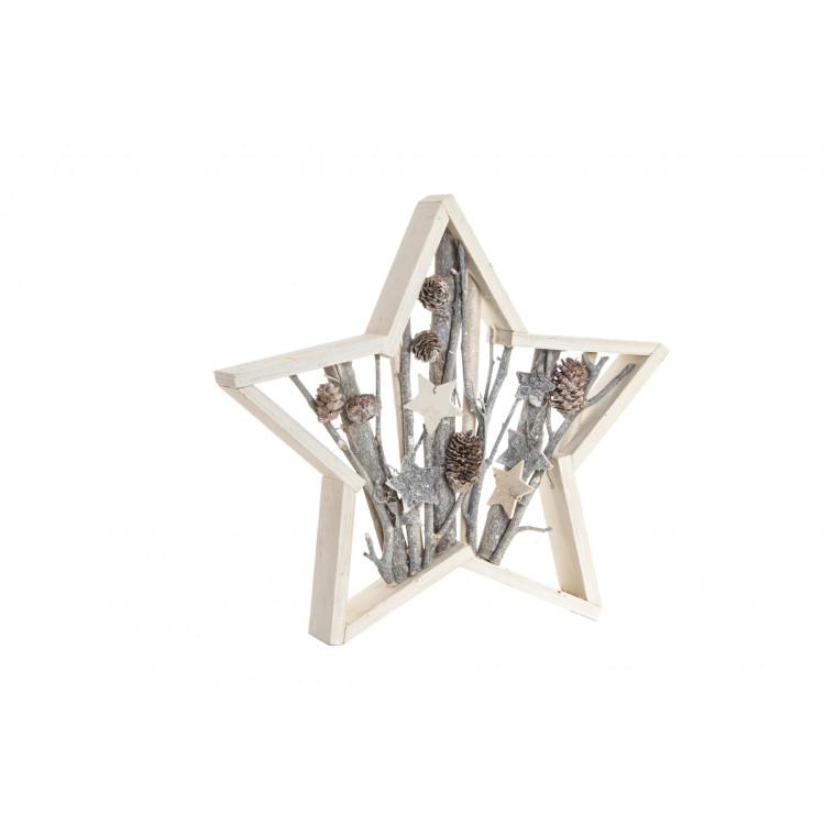 Hogar y Más - Estrella de madera original con elementos naturales para decoración de pared o estantería Snowy