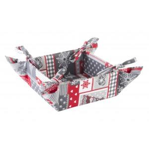 Hogar y Más - Cesta Panera navideña práctica y plegable de algodón Happy Christmas