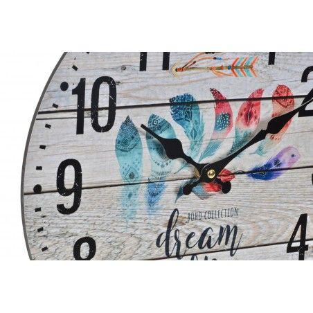 Hogar y más - Reloj de Pared de Plumas. Vintage