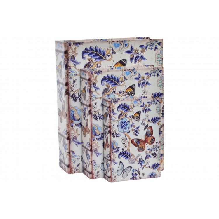 Hogar y más - Set de 3 cajas-libros de madera. Mariposas