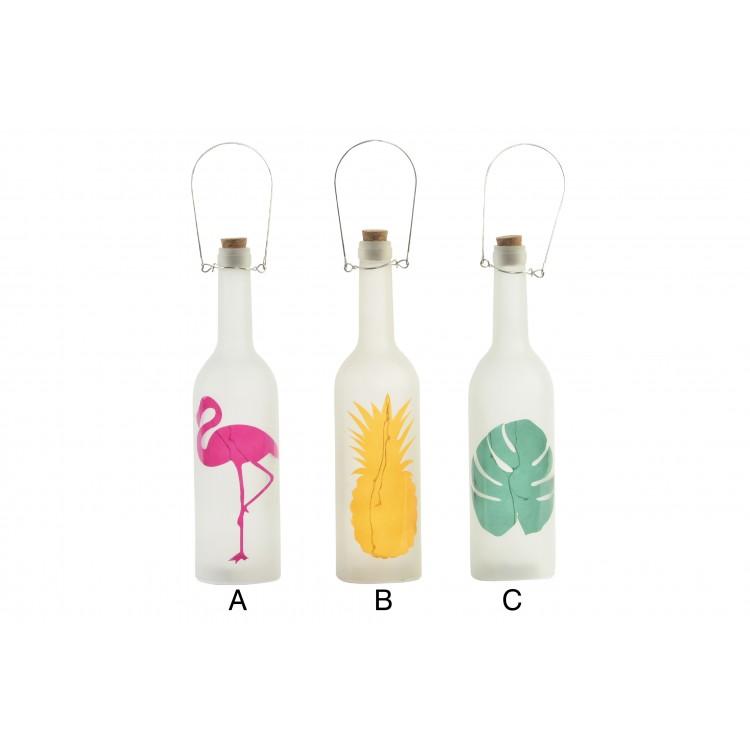 Hogar y más - Botella Decorativa Tropical con Leds. 3 modelos