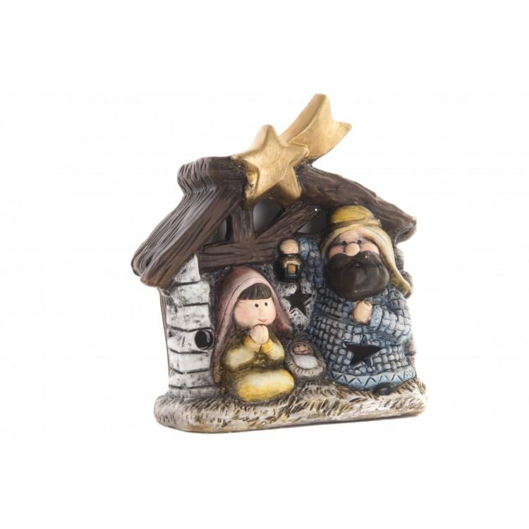 Hogar y Más - Belén navideño simpático de cerámica natural con llamativos Leds Happy Christmas