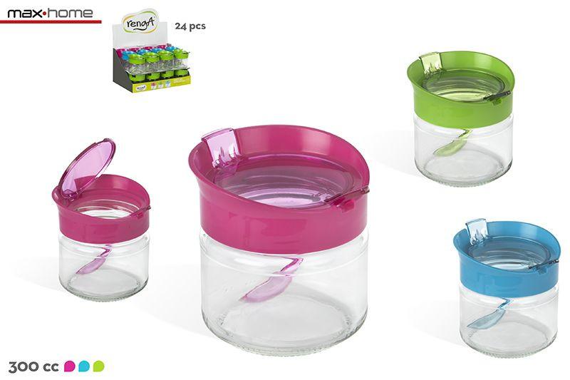 Hogar y Más - Azucarero moderno de cristal con cuchara en 3 colores Fashion Sugar