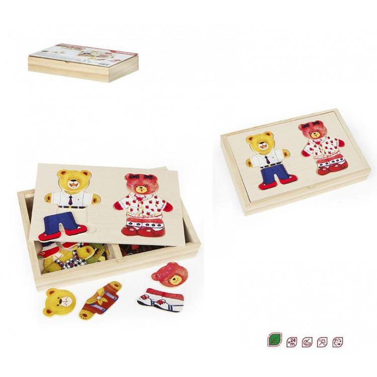 Juego de piezas tipo puzzle - Osos de madera natural - Hogar y más