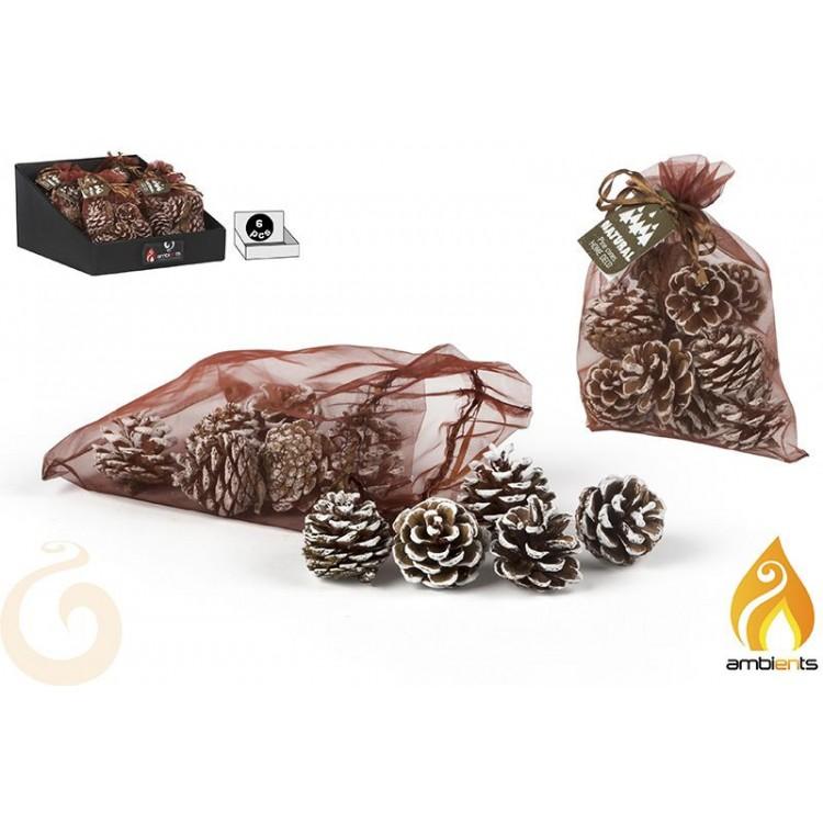Hogar y Más - Piña Decorativa navideña con elegante detalle de nieve bolsa de 12 Happy Christmas
