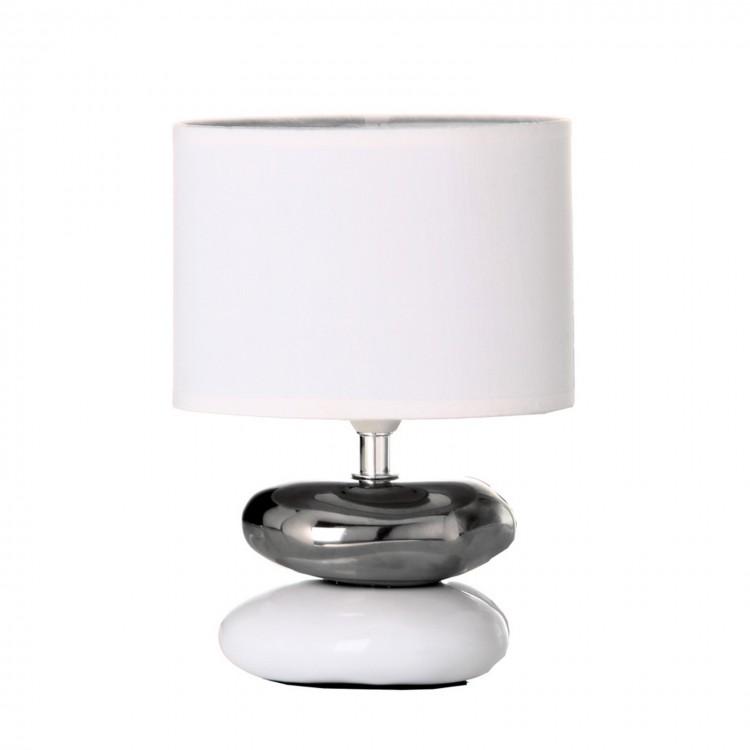 Hogar y más - Lámpara de piedras de cerámica blanca y plata.