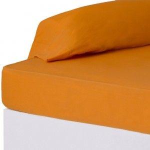 Hogar y más - Sábana bajera para cama de 90. Naranja