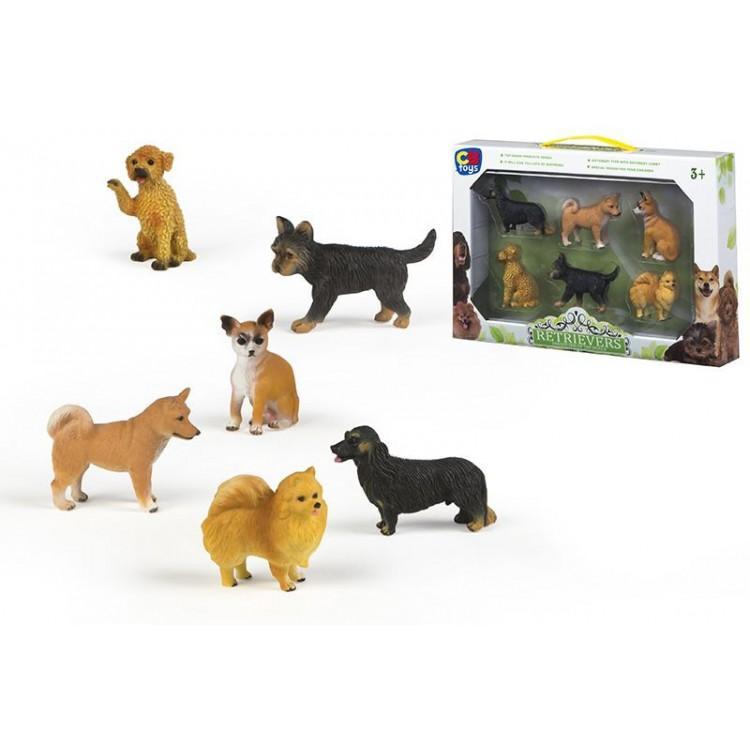 Figura de perro simpático y leal Set de 6 de diferentes razas Retrievers - Hogar y Más