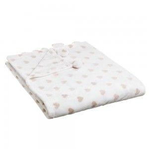 Manta de sofa calentita y agradable de franela Beige con estampado de corazones Love - Hogar y Más