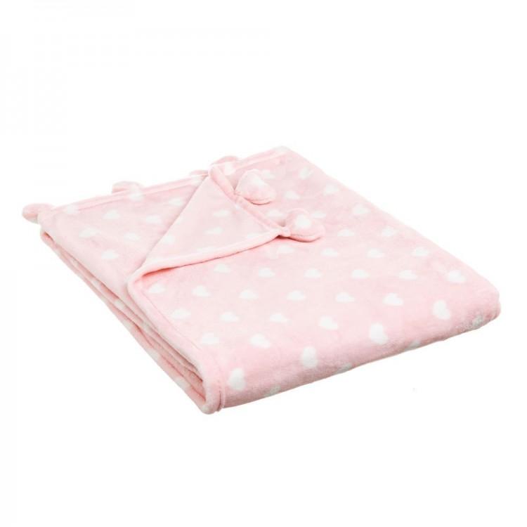 Manta de sofa calentita y agradable de franela Rosa con estampado de corazones Love - Hogar y Más