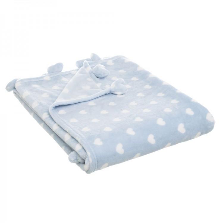 Manta de sofa calentita y agradable de franela azul con estampado de corazones Love - Hogar y Más