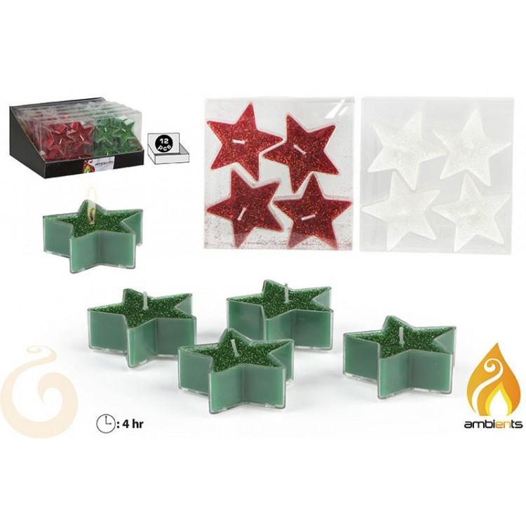 Velas de navidad en forma de estrella 4 unidades - Edición Dulce Navidad - Hogar y más
