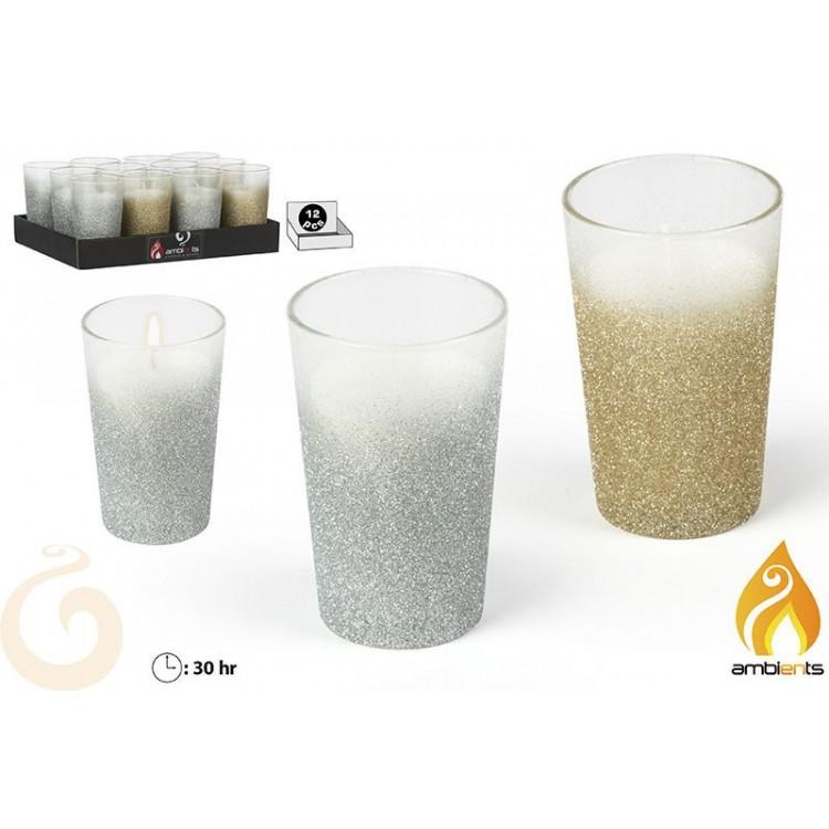 Vela navideña de cristal en vaso cubierta de purpurina color oro o plata Golden Christmas - Hogar y Mas