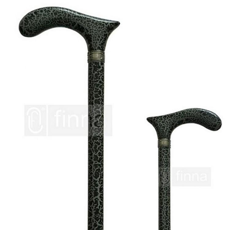 Bastón Negro y Gris de Madera de Haya Natural Craquelé Hogar y Más