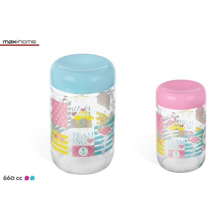 Tarro Bote de cristal practico y original en dos colores Flamingo - Hogar y Más