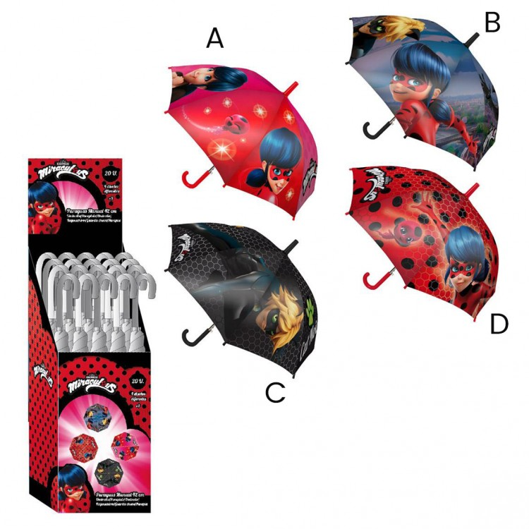 Paraguas infantil de Lady Bug y Noir Cat de Miraculous en diferentes modelos  ¡Elige el tuyo! - Hogar y Mas