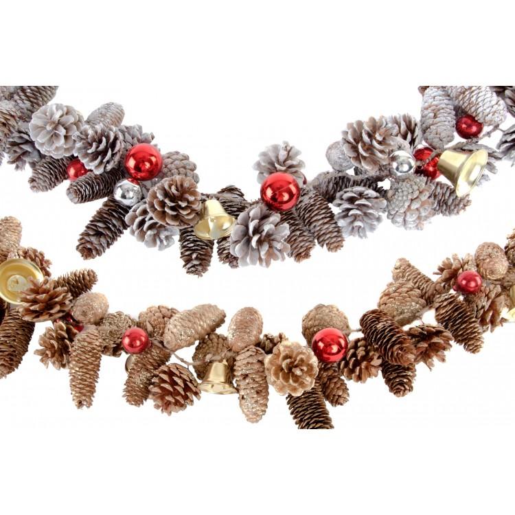 Guirnalda navideña original con piñas naturales y campanas - Hogar y Más