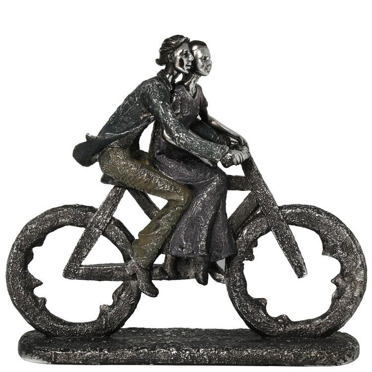Figura romántica plata envejecida diseño de pareja con bicicleta Love - Hogar y más