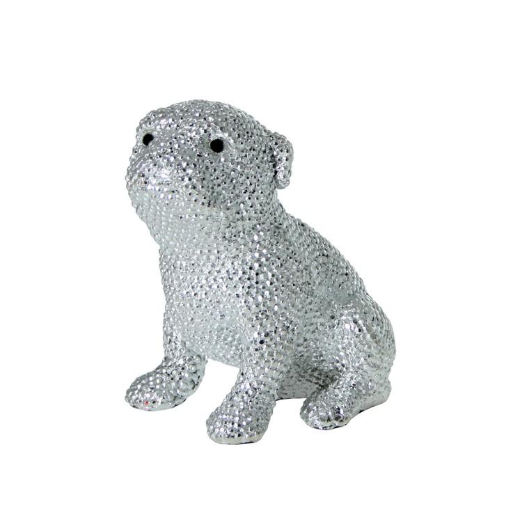 Figura de perro Pug de resina plateada granulada - Estilo Luxury - Hogar y más.