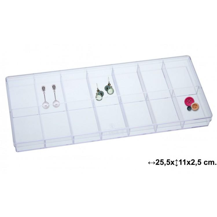 Caja multifuncional practica y transparente con 14 compartimentos - Hogar y Mas