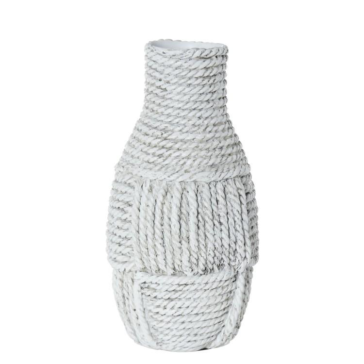 Jarrón realizado en resina en colores blanco. Diseño rústico. Hogar y más.