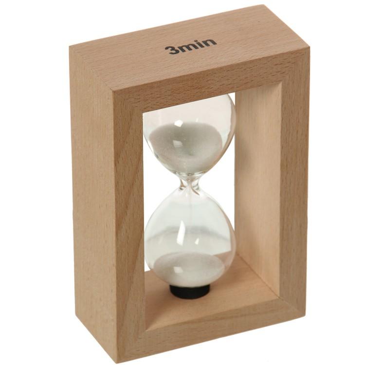 Reloj de arena de 3 minutos de madera natural y cristal - Hogar y más