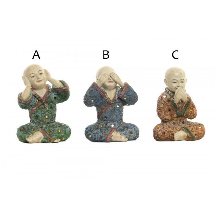 Monje budista tibetano simpatico figura Ver, Oir y Callar - Hogar y Mas