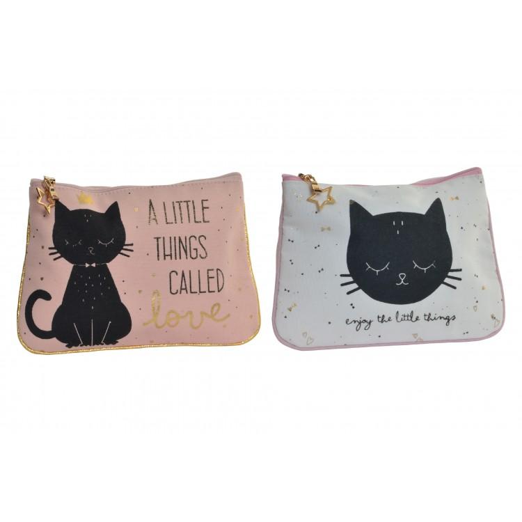 Neceser de algodón practico con frase motivadora y gato simpático - Hogar y Mas