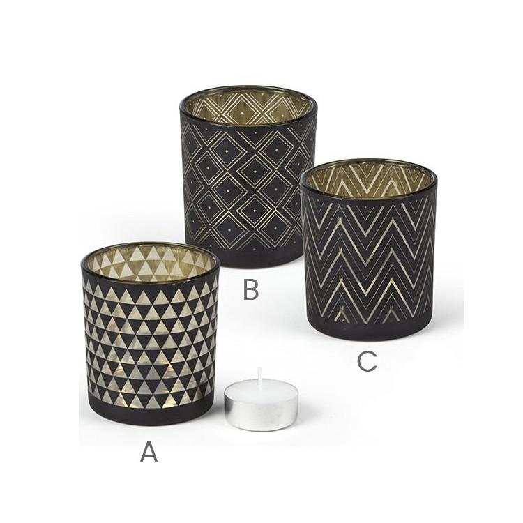 Vaso portavelas de cristal - Diseño geométrico- Hogar y más
