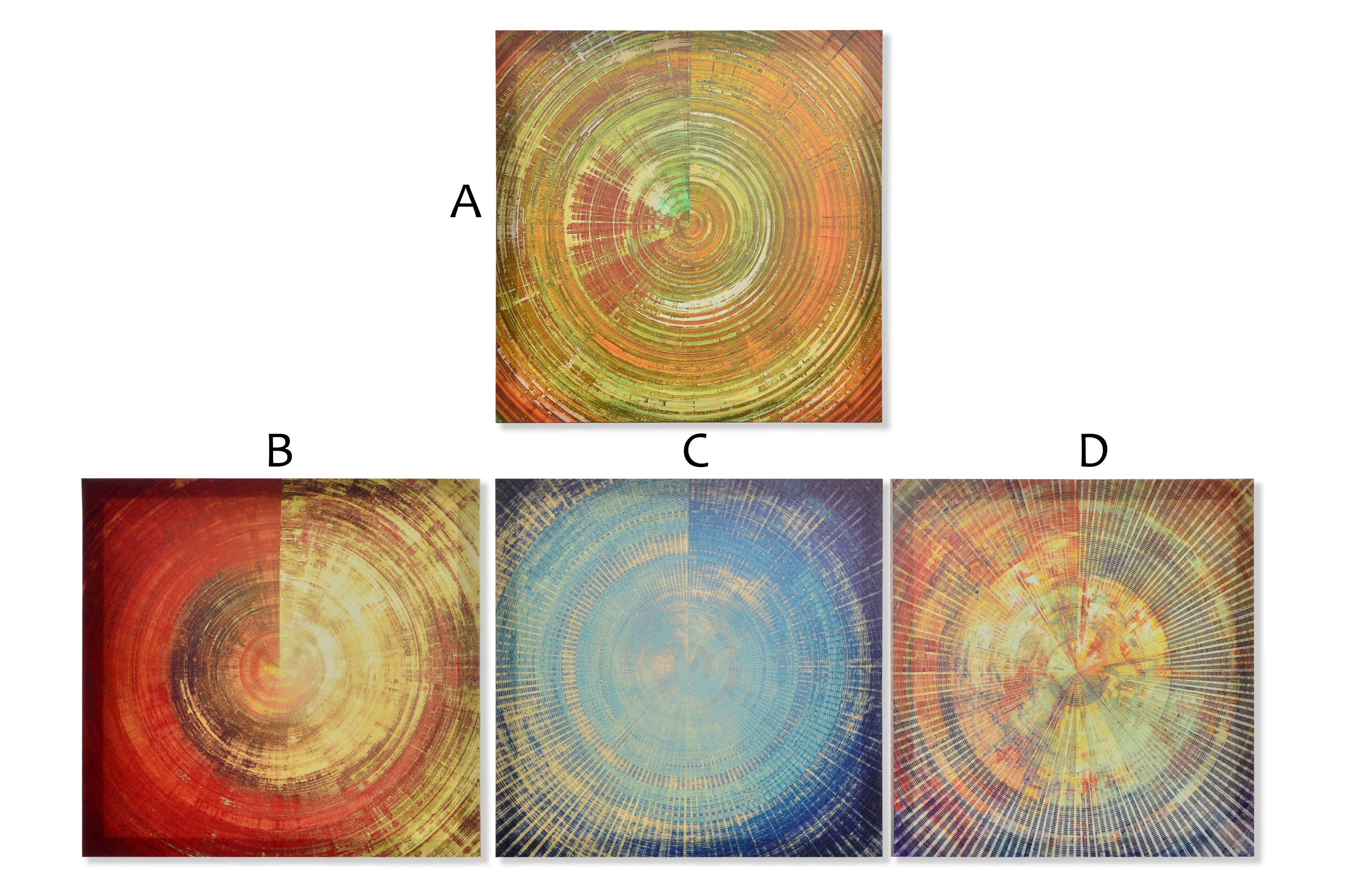 Cuadro decorativo moderno de circulo abstracto en lienzo reforzado de madera Time - Hogar y Mas