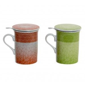 Taza de infusiones Mug de porcelana con filtro inoxidable y tapa decorada con motivos naturales Essence - Hogar y Mas