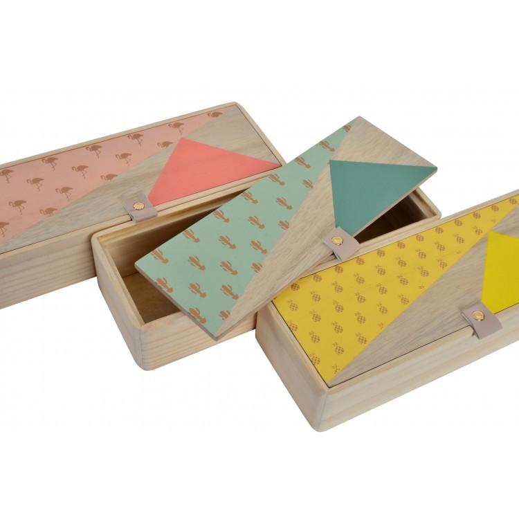 Caja de madera nórdica practica con original motivo Tropical - Hogar y Mas