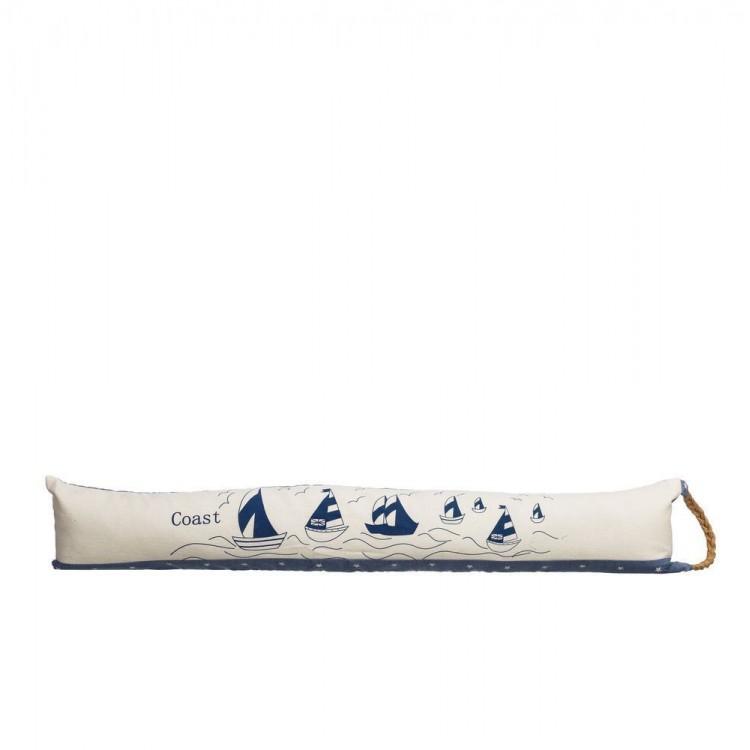 Cortavientos para puerta original de color crema y azul con diseño de veleros Coast - Hogar y Mas