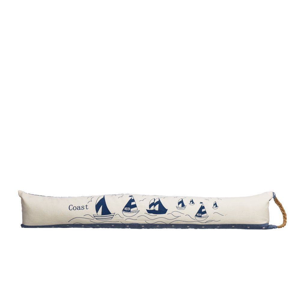 Windproof door original colour of blue and cream with design of sailboats Coast - Home and More