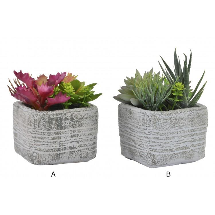 Planta Decorativa de Pvc con base de cemento - Hogar y más